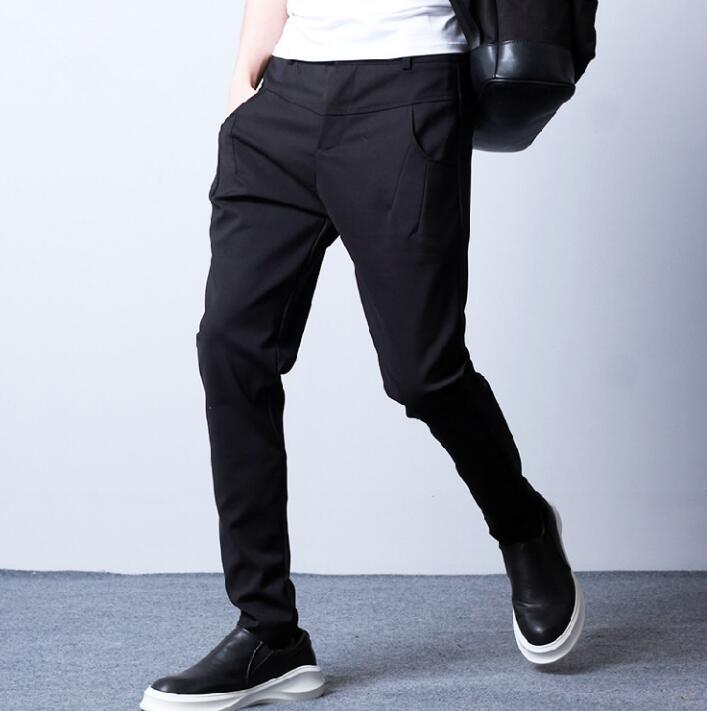 2019 Sommer Dünne Persönlichkeit Mode Männer Dünne Hosen Harem Hose Männer Füße Hosen Pantalones Hombre Fracht Pantalon Homme Schwarz
