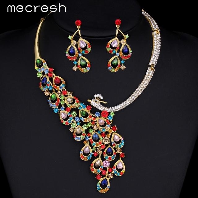 Mecresh Peacock Imitado Gemstone Banhado A Ouro Jóias Conjuntos de Jóias Africano Conjunto Colar Brincos TL062