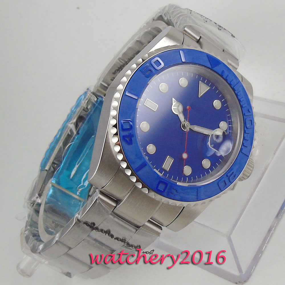 NEW Arrival 43mm PARNIS Blue Sterile Dial Calendar Sapphire Glass Stianless Steel Case Miyota Automatic Movement men's Watch цена 2017