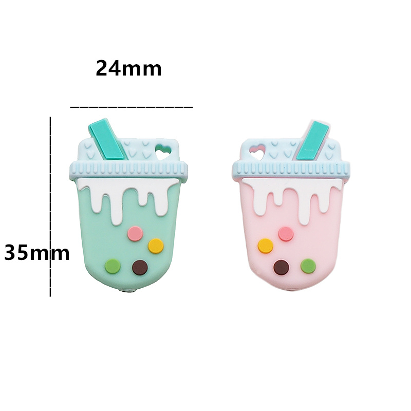 Chenkai 5PCS Silicone Milky Tea Beads Baby Cute Teething Beads Colorful Oral Care For DIY Newborn Teether Pendant Shower Gift in Baby Teethers from Mother Kids