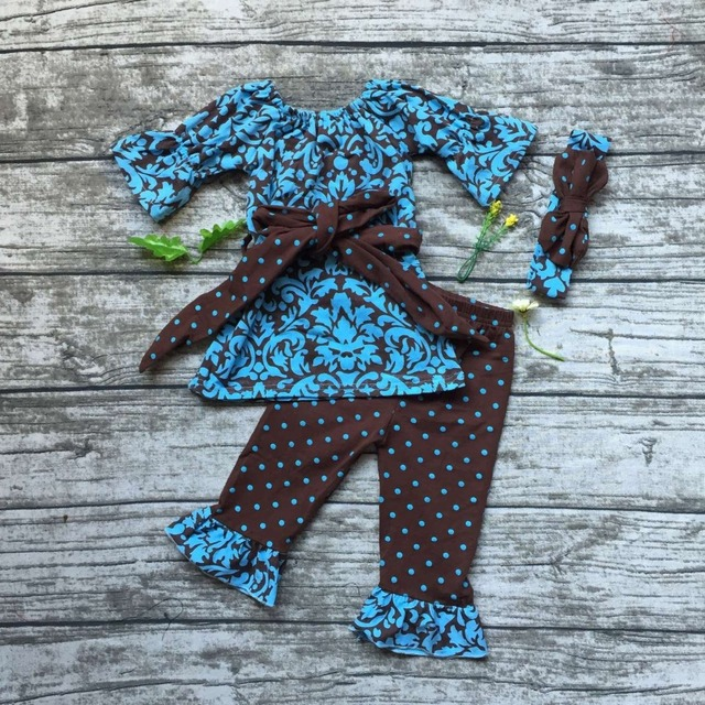 2016 baby girls clothes Damask clothing brown navy blue outfit with belt bows girls polka dot ruffle pant with match headband