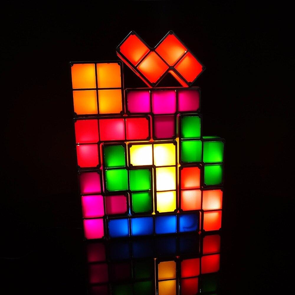 Bricolage Tetris Puzzle lumière empilable LED lampe de bureau bloc Constructible veilleuse rétro jeu tour bébé coloré brique jouet