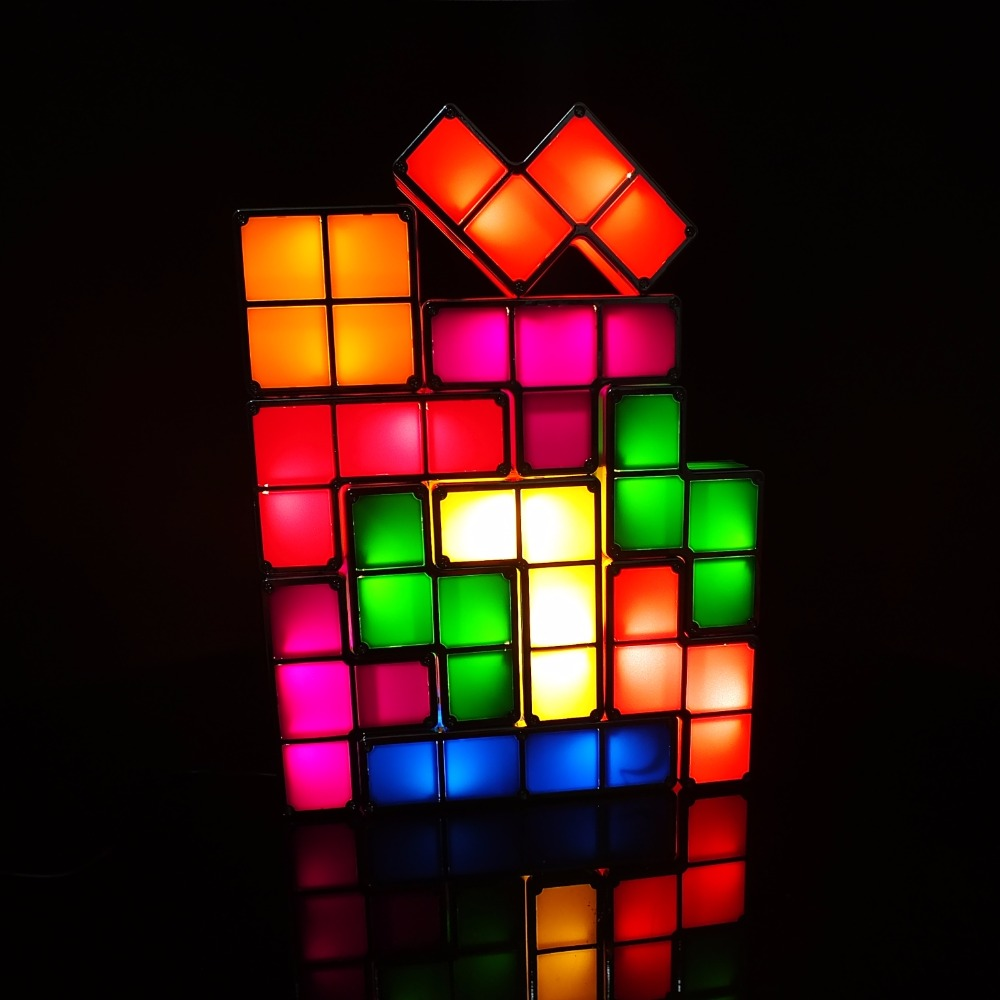 Tetris Diy Constructible Jeu Lampe Bureau Table Rétro Blocs Empilable