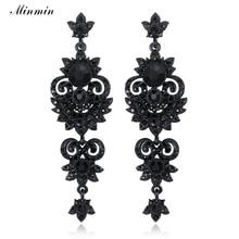 Minmin Luxury Floral Black Color Vintage Earrings Unique Design Crystal Long Drop Earrings Women Fashion Jewelry 2019 MEH938