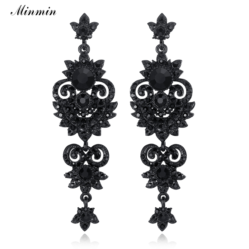 Minmin Luxury Floral Warna Hitam Anting Vintage Yang Unik Desain Kristal Panjang Drop Earrings Wanita Fashion Jewelry 2019 MEH938