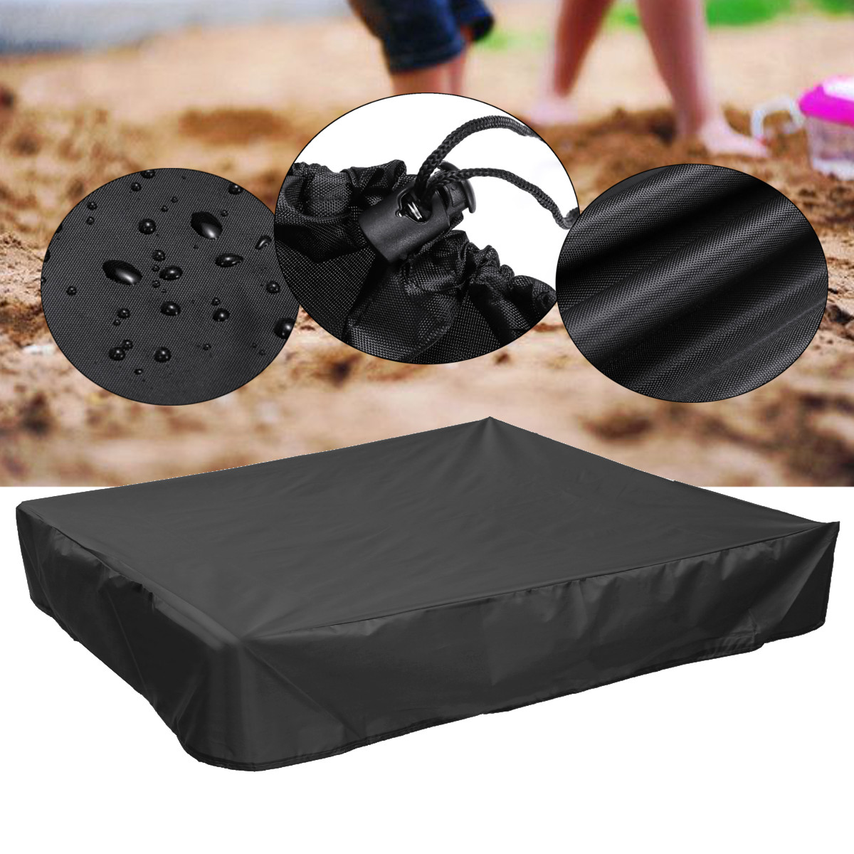 Square Garden Oxford Sandbox Sandpit Dust Cover Multifunction Dustproof Waterproof Canopy Shelter With Drawstring 4 Sizes Black
