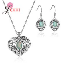 JEMMIN 925 Sterling Silver Leaves Pendant Jewelry Set Nice Fire Opal Symbol Individuality Appointment Anniversary Party Jewelry(China)