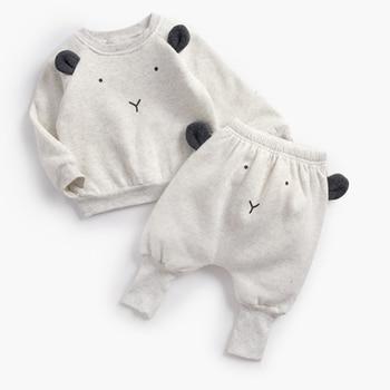 Winter Baby's Cartoon Animal Printed Sweatshirt with Pants Set 5