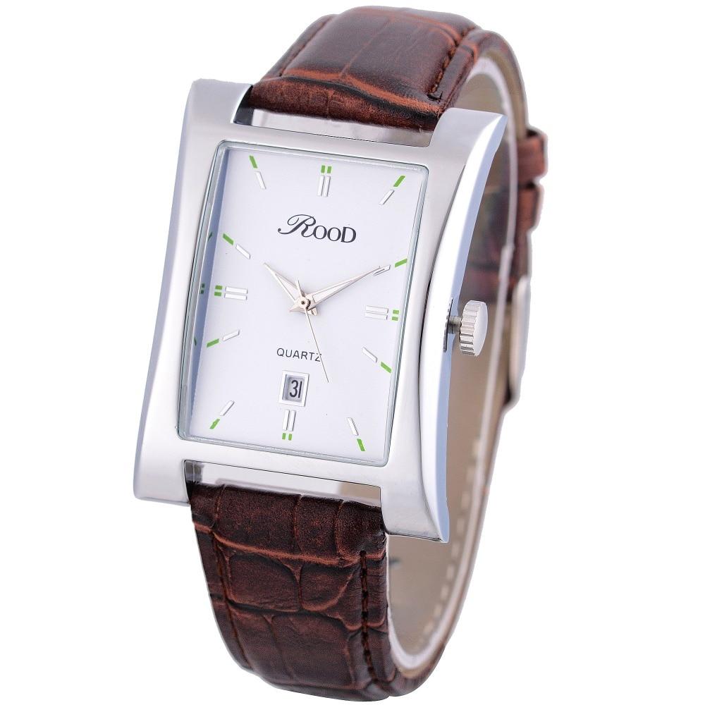 Brilham rood dos homens relógios top marca de luxo data hora relógio  quadrado pulseira de couro relógio de pulso do esporte masculino à prova d   água ... e2fe38ccf9