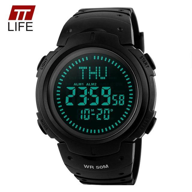 TTLIFE Brand Compass Mens Watch Outdoor Sports Climbing Hiking Watch Digital 50M Water Resistant Chronograp Wrist Watch for Men