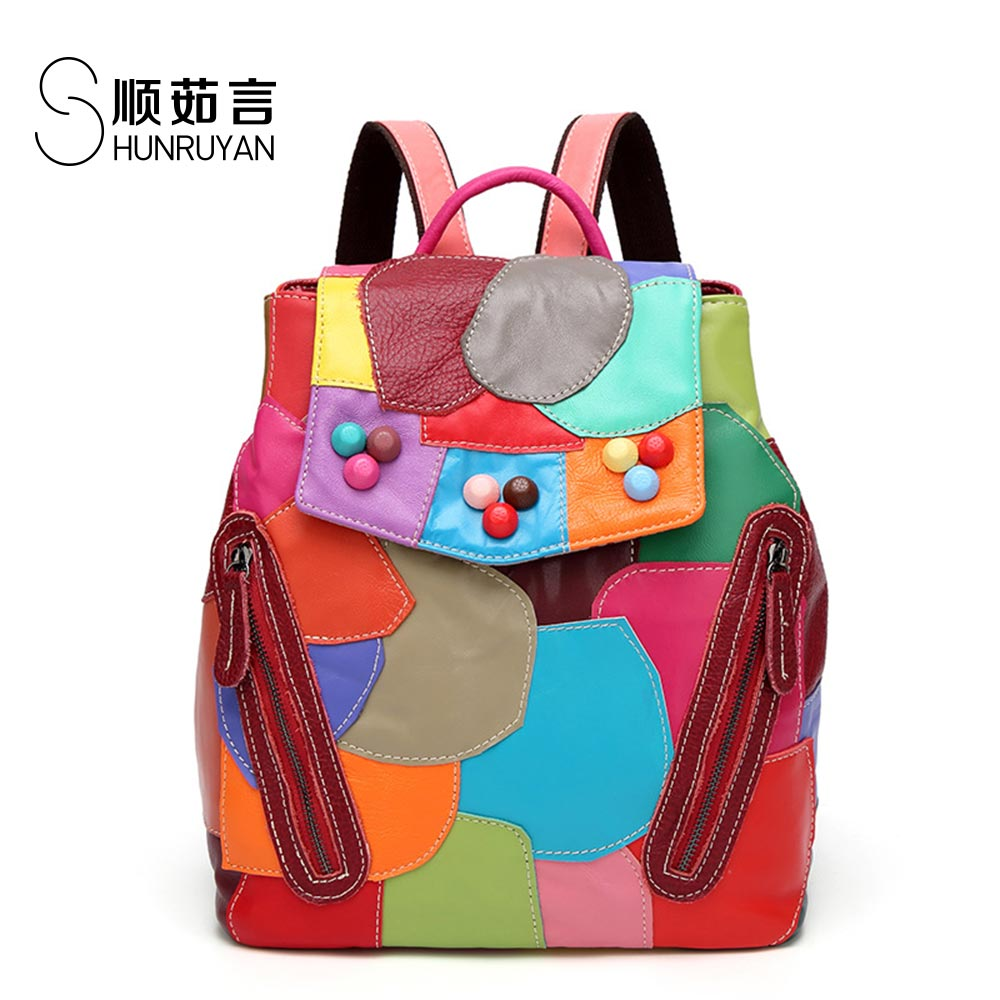 SHUNRUYAN New Four seasons wild Lively and playful sheepskin splicing color shoulder bag backpack nylon color splicing camouflage pattern shoulder bag
