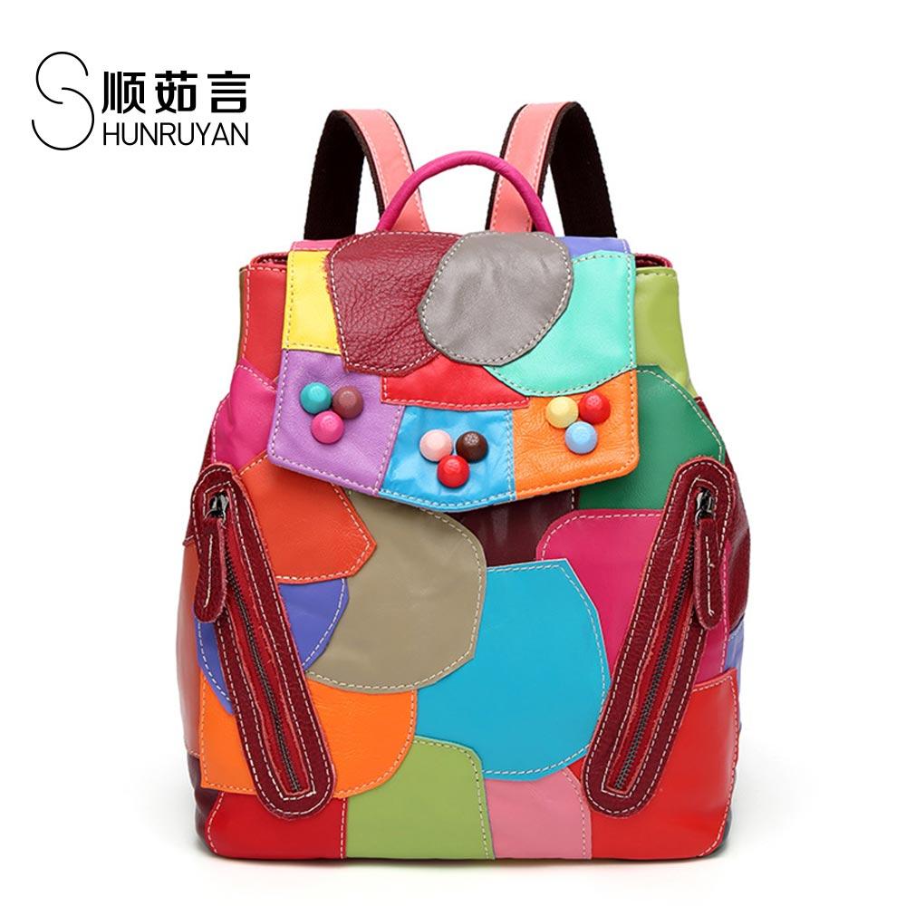 SHUNRUYAN New Four seasons wild Lively and playful sheepskin splicing color shoulder bag backpack все цены