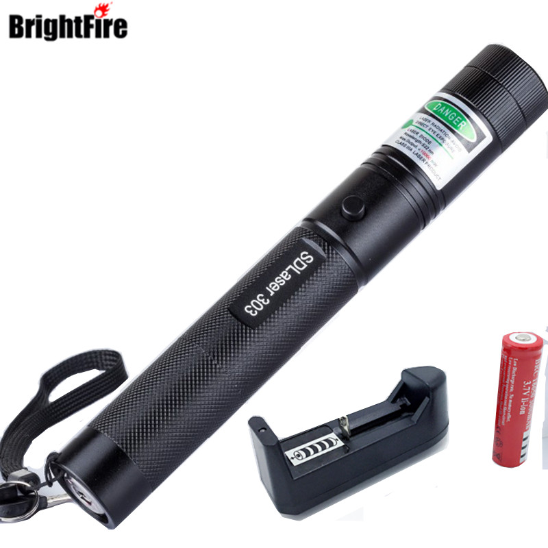 Haute Qualité Vert Laser 303 Lazer Pointeur Présentateur Avec Safe Key + 18650 Batterie + 18650 Chargeur