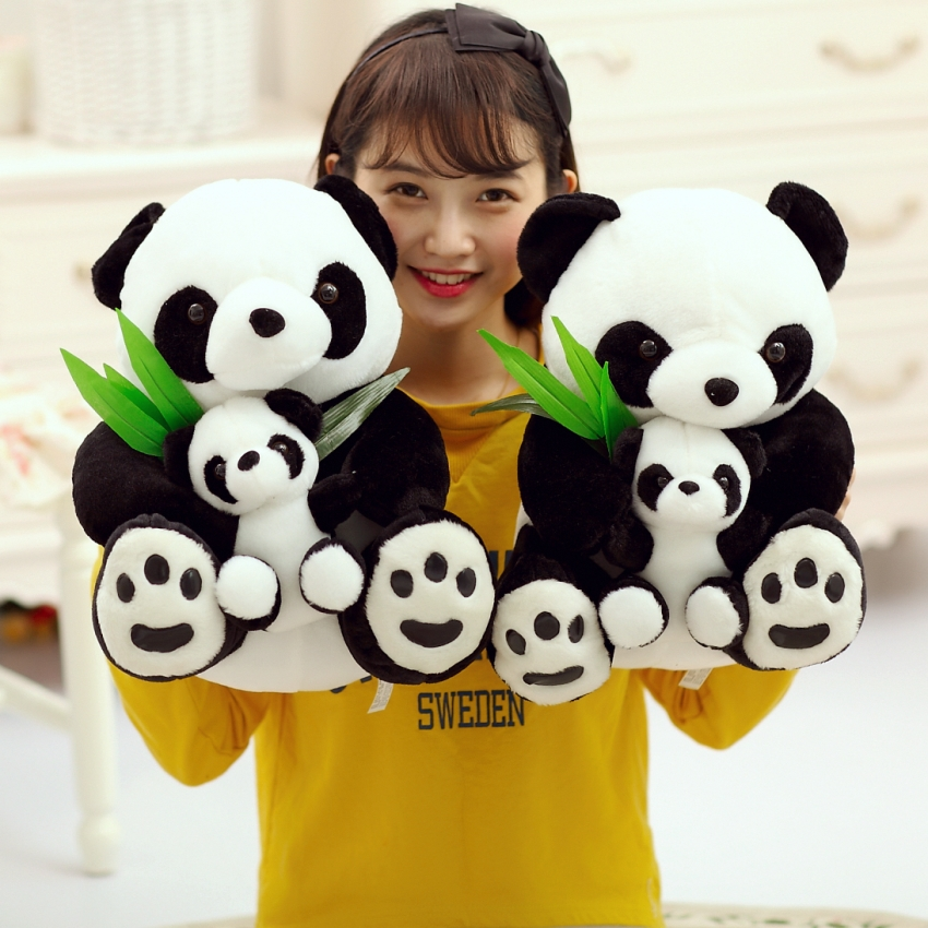 Cartoon Lifelike Chinese Panda Mother And Son With Baby Plush Kids Dolls Soft Hold Pillow Stuffed Toy For children Girls