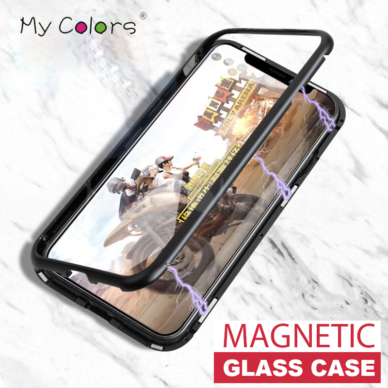 Magnetic Adsorption phone case for iphone X 7 8 6 case metal frame cover tempered glass coque for iphone 6s 8 plus luxury fundas