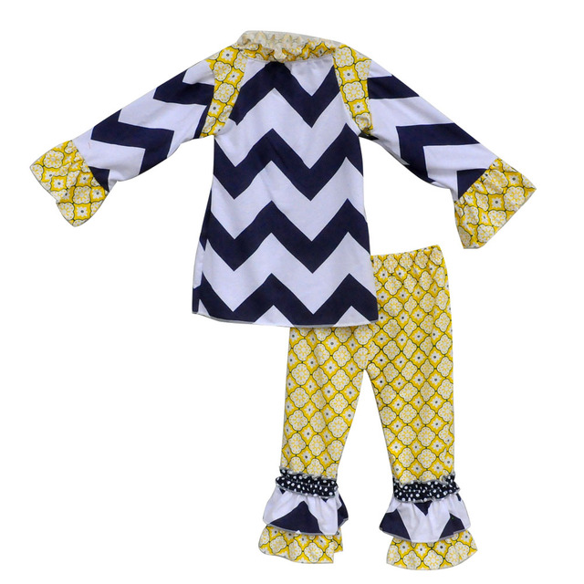bd3fae90db97 2016 Boutique Mustard Pie Toddler Girls Ruffle Outfits Lovely Chevron Top  Ruffle Pants Children Boutique Clothing Sets F083