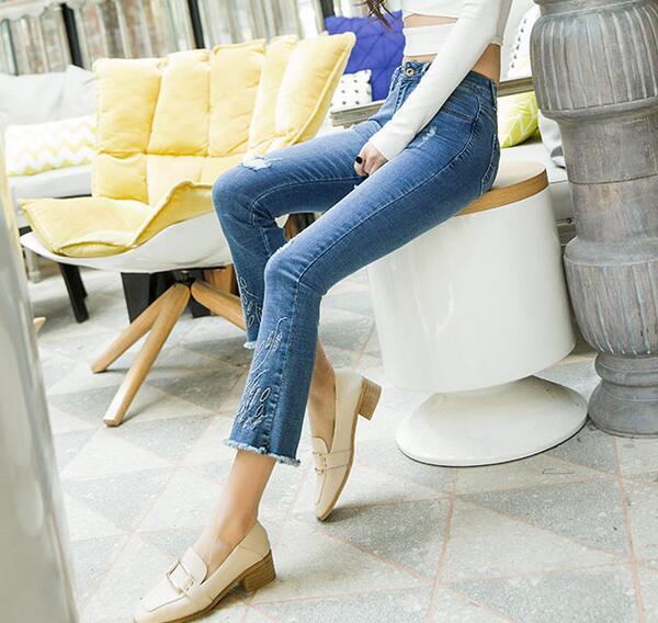 Capris Algodón Denim Más Tamaño Casual Las Para Agujero Mujer Smf0804 Borla Pantalones Blend Jeans Adelgazamiento Moda Mujeres Flare Nueva vOASqq
