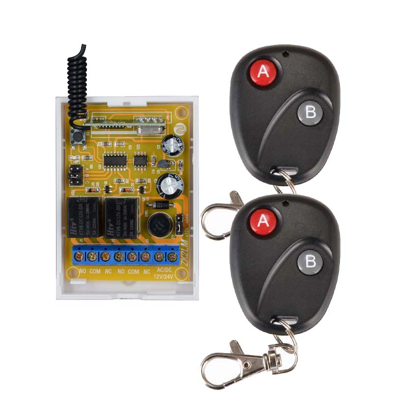 DC 12V DC 24V 10A 2CH RF Wireless Remote Control Switch System Transmitter + 1 X Receiver Learning code 315/433MHZ