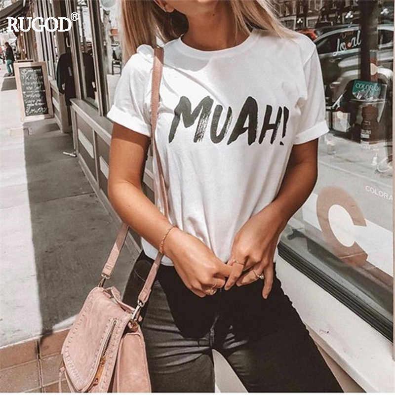 RUGOD 2020 ใหม่MUAHพิมพ์ผ้าฝ้ายเสื้อผู้หญิง 2018 ฤดูร้อนรีดเสื้อสีขาวเสื้อHarajukuผู้หญิงTops