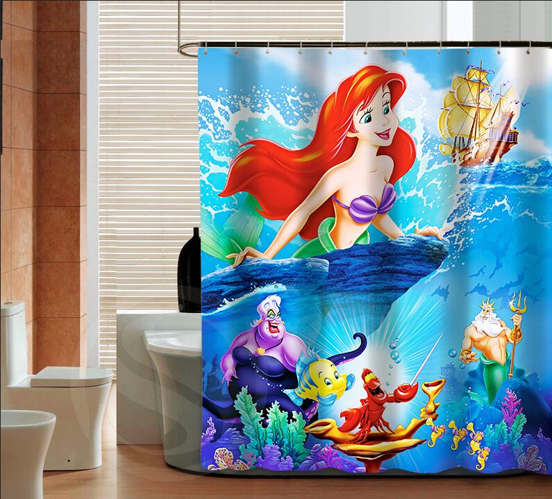 Popular The Little Mermaid Fashion Custom Shower Curtain Bathroom Decor Various Sizes Free Shipping More Size