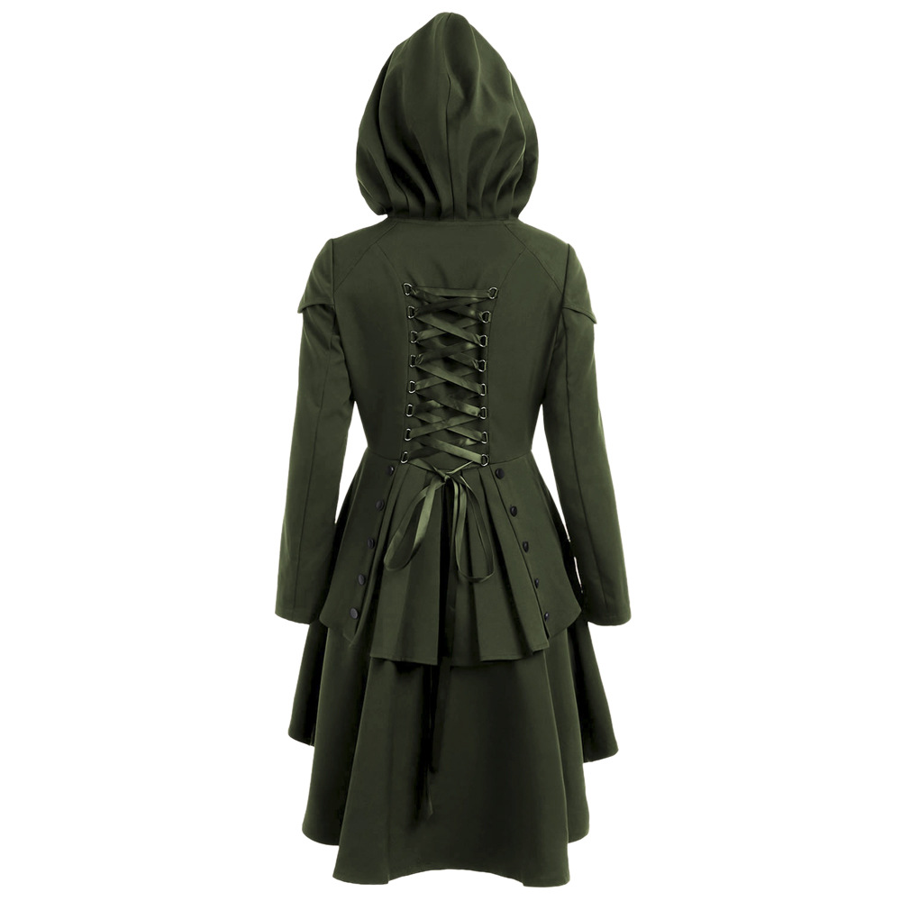 Women Autumn Coat Euro Style Back Cross Bandage Hooded Trench Long Gothic Halloween Layered Lace Up High Low Hooded Coats