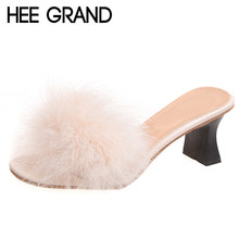 HEE GRAND 2018 Faux Fur Heels Sandals Gladiator Beach Slides Slip On  Platform Shoes Woman Slippers 613196f69889