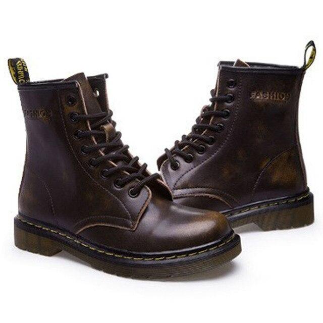 Новой Англии Стиль Dr 100% натуральная кожа Мартин Ботинки Мартин Обувь Мужчины и Женщины Марка Доктор Дизайнер Мотоциклов Сапоги Размер 35-44