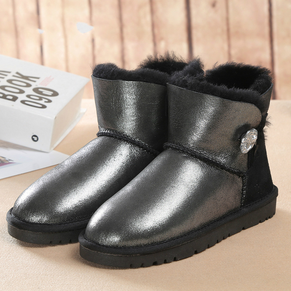 100% Natural Fur Winter Boots Fashion Genuine Sheepskin Leather Women Snow Boots Warm Wool Ankle Boots Winter Shoes
