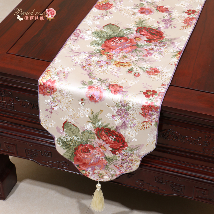 Proud Rose Brocade Table Runner Table Cloth Table Flag Wedding Decor Contracted Rural Tea Table Cloth High-grade Bed Runner