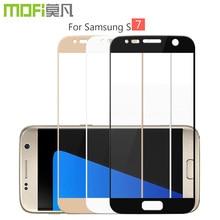 Pour Samsung S7 verre cove Samsung Galaxy S7 trempé verre écran protecteur pleine couverture film noir bord premier protetor glas mofi
