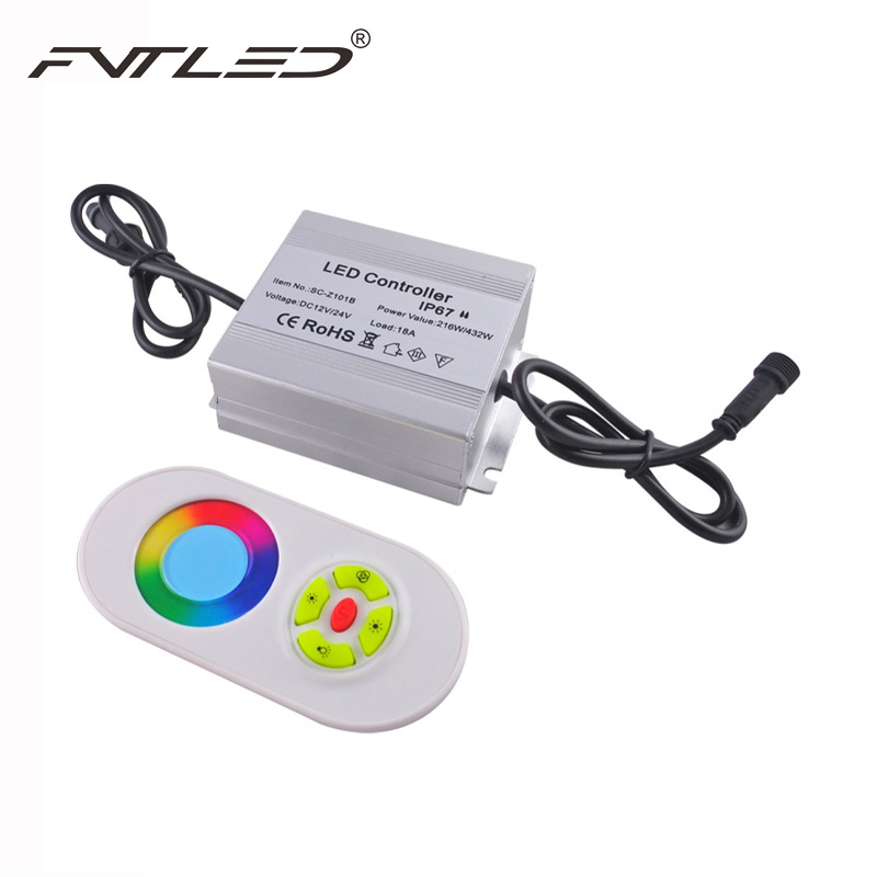 216W IP67 Waterproof LED Controller with RF Touth Remote Control For Outdoor RGB LED Deck Light