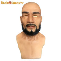 Realmaskmaster adult silicone face mask for man party supplies fetish artificial fake halloween masks male latex realistic
