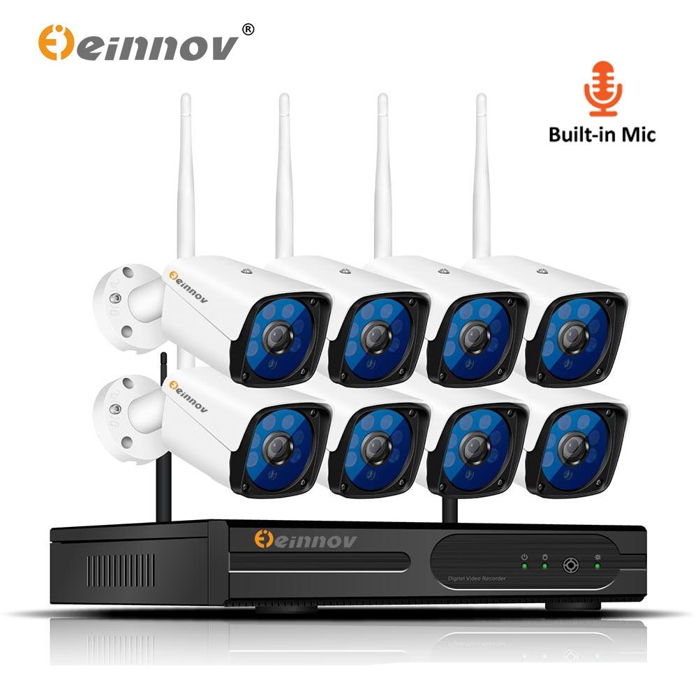 Einnov 8CH Security Camera System Wireless With Recording CCTV 1080P Video Surveillance Kit IP NVR Wifi