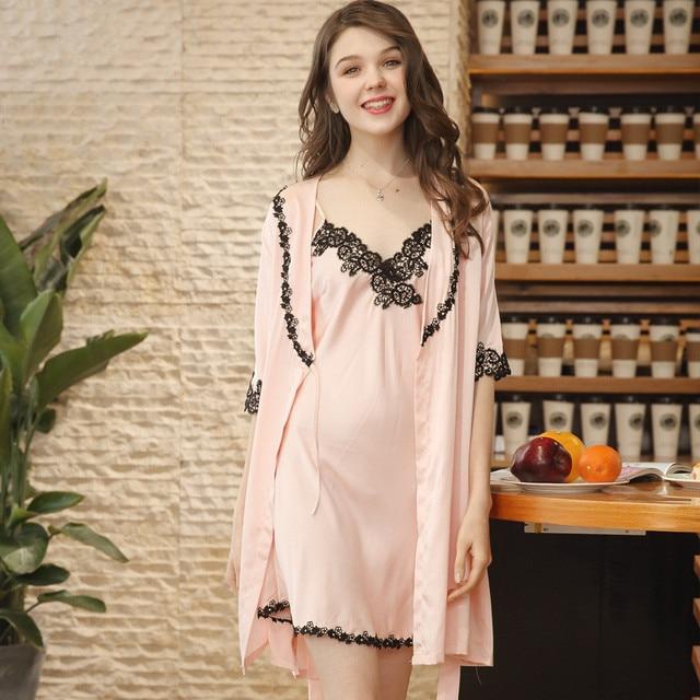 0378adcc76 2018 Fashion Women Nightgown Night Dress Plus Size Nightgown Silk Satin  Night Gown Sexy Lace Sleepwear Nightdress WP783