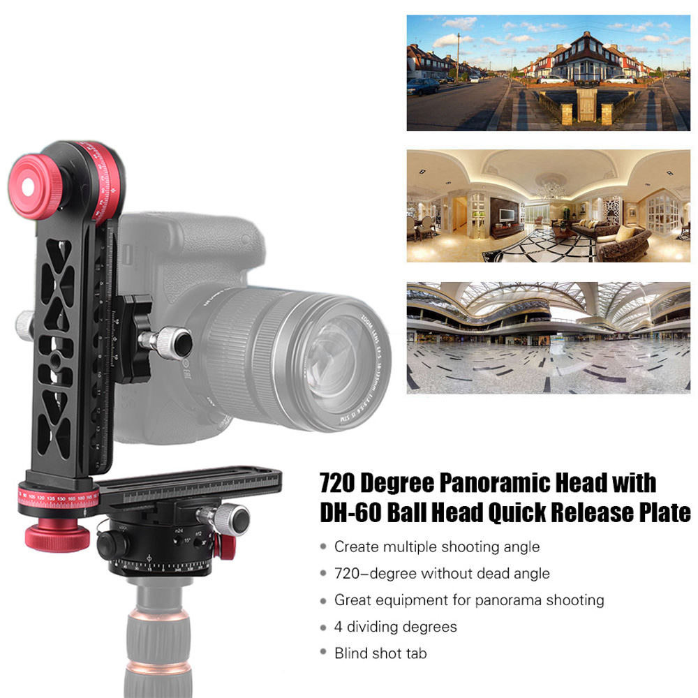 720 Degree Panoramic Gimbal Tripod Pan Head w/ Indexing Ball Head Quick Release Plate for Canon Nikon Sony Pentax DSLR Camera sevenoak sk gh01 hard gimbal head with quick release for canon nikon sony pentax olympus sigma gopro dslr camera mini camcorders