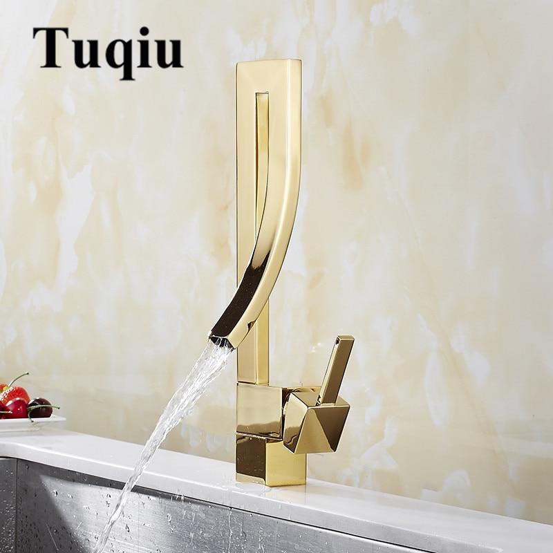Robinets de bassin or laiton robinet carré salle de bain évier robinet mitigeur pont monté toilette chaude et froide mélangeur robinet d'eau - 3