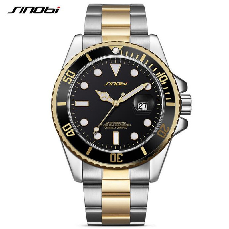 SINOBI Luxury Reginald Watch Men GMT Sapphire Glass Date Stainless Steel Women Mens Sport Quartz Watches Reloj Hombre N08 luxury reginald watch men rotatable bezel gmt sapphire date gold stainless steel sport blue dial quartz watch reloj hombre