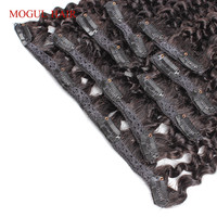Mogul Hair Clip In Human Hair Extensions Afro Kinky Curly Human Hair 1 Set 7Pcs/set Natural Color Brazilian Remy Hair