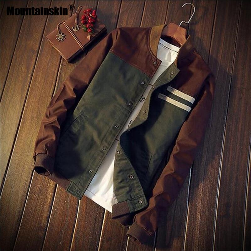 Mountainskin 4XL nuevos hombres chaquetas de otoño militar de los hombres abrigos moda Slim Casual chaquetas de Hombre Ropa de béisbol uniforme SA461
