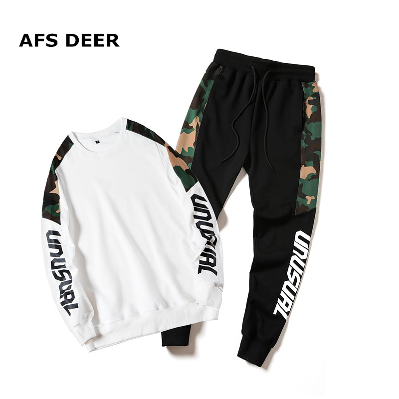 Brand 2019 Spring Two Piece Men's Tracksuit Men Long Sleeve Hoodies Top+Sweat Pant Men's Set Causal Joggers Sportswear Plus Size