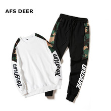 Brand 2019 Spring Two Piece Mens Tracksuit Men Long Sleeve Hoodies Top+Sweat Pant Set Causal Joggers Sportswear Plus Size
