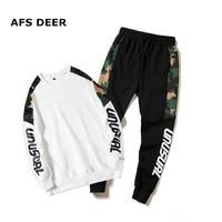 Brand 2019 Spring Two Piece Men's Tracksuit Men Long Sleeve Hoodies Top+Sweat Pant Men's Set Causal Joggers Sportswear Plus Size