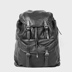 Image 2 - Miękki czarny skórzany męski plecak na laptopa o dużej pojemności Retro męskie plecaki turystyczne wierzchnia warstwa skóry wołowej mężczyzna tornister na co dzień