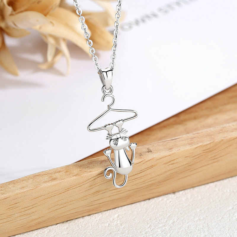 Eudora 925 Sterling Silver Lovely Cat Long Tail Cat Kitten & hangers Necklaces Pendants for Women Sterling Silver Jewelry CYD412