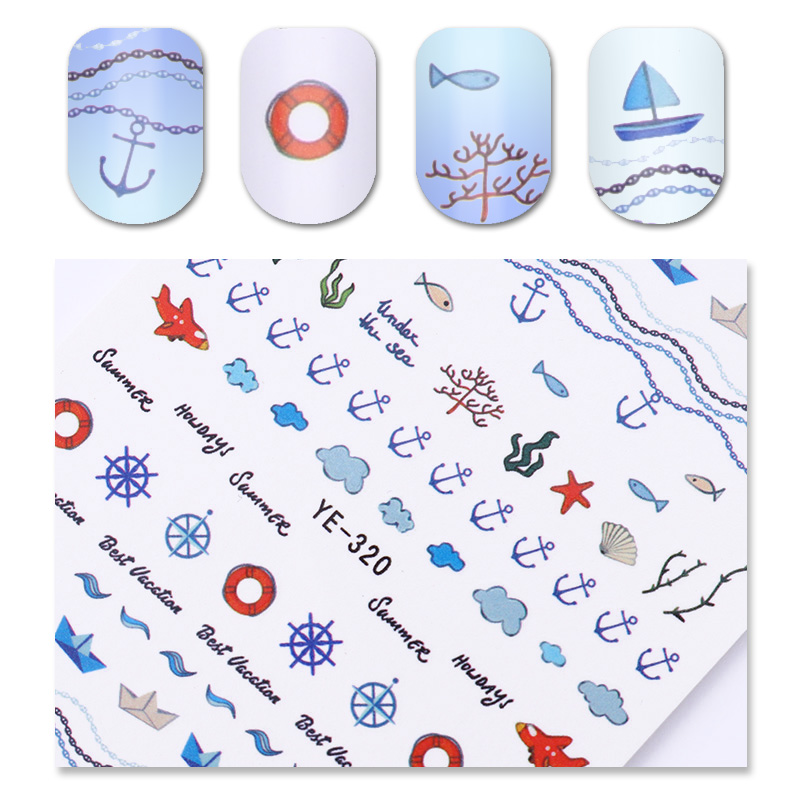 Navy Anchor Pattern Nail Water Decal Summer Starfish Rudder Manicure Nail Art Transfer Sticker Decoration