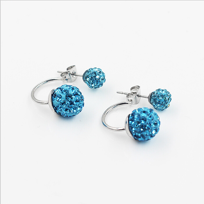 Gratis frakt 16 Färg Double Side Earring Fashion Brand Smycken Alloy - Märkessmycken - Foto 3