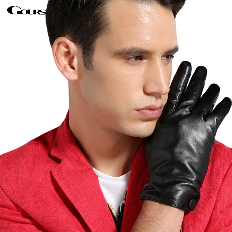 Gours Gloves 2018 Winter New Men Genuine Leather Gloves Goatskin Mittens Buttons Black Plus Velvet Warm Fashion Driving GSM007