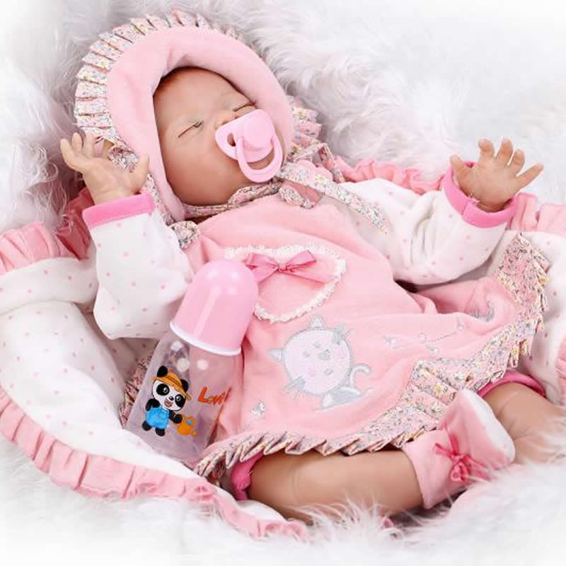 Handmade 22 Inch Reborn Babies Soft Silicone Lifelike Newborn Baby Dolls Sleeping Girl Gift For Children Birthday New Year Gift gps навигатор lexand sa5 hd черный