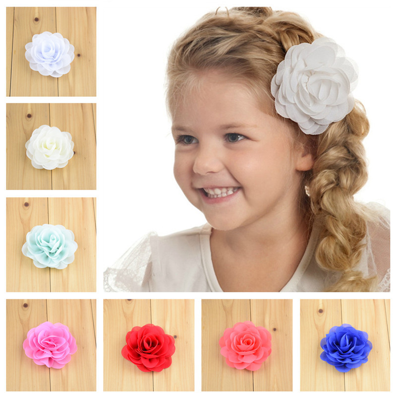 2 PCS/lot , Chiffon Cabbage Rose Flower Hair Clips , 3.15 Chiffon Rose Hair Flower Clip for wedding , Girls Hair Accessories