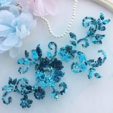 1 Piece Delicate Wedding Veil Head Ornaments Lace Applique Sequins Bling Trim Dress DIY Accessories